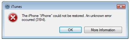 Lỗi 3194 xuất hiện khi update, restore iPhone, iPad